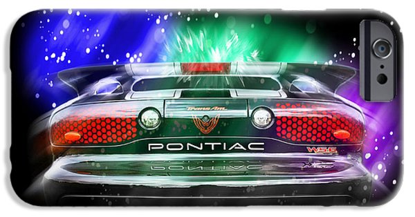 1990s iPhone Cases - Cosmic Pontiac Firebird iPhone Case by Gill Billington