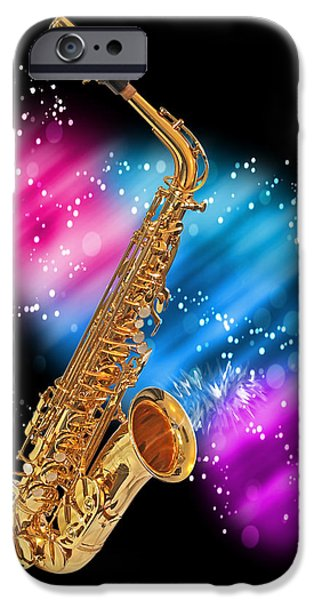 Legendary Music Singers iPhone Cases - Cosmic Sax iPhone Case by Gill Billington