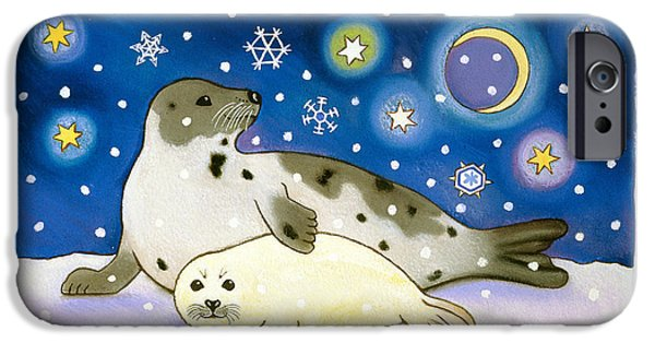 Wild Animals iPhone Cases - Cosmic Seals, 1997 Pastel And Gouache On Paper iPhone Case by Cathy Baxter
