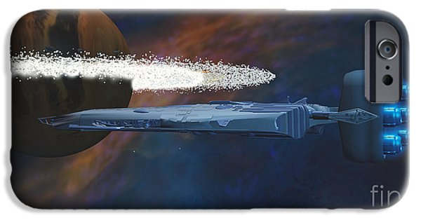 Jet Star Digital Art iPhone Cases - Cosmic Spaceship iPhone Case by Corey Ford