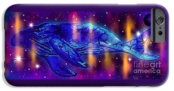Whale Digital iPhone Cases - Cosmic Whale iPhone Case by Nick Gustafson