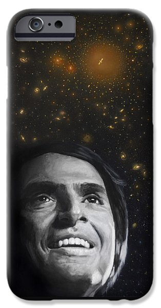 Cosmos Paintings iPhone Cases - Cosmos- Carl Sagan iPhone Case by Simon Kregar
