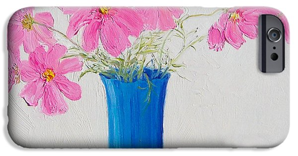 Cosmos Paintings iPhone Cases - Cosmos flowers iPhone Case by Jan Matson