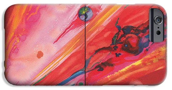 Abstracts iPhone Cases - Cosmos Oil On Canvas iPhone Case by Izabella Godlewska de Aranda