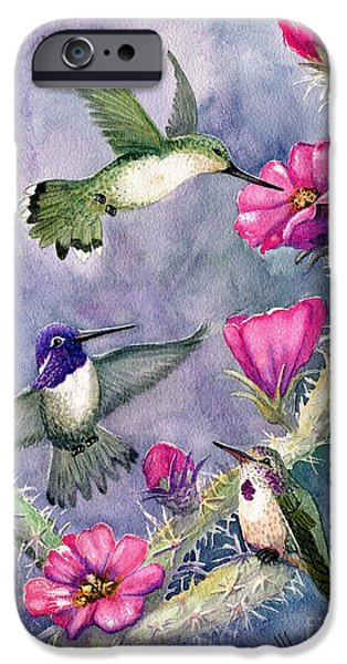 Marilyn Smith Paintings iPhone Cases - Costa Hummingbird Family iPhone Case by Marilyn Smith
