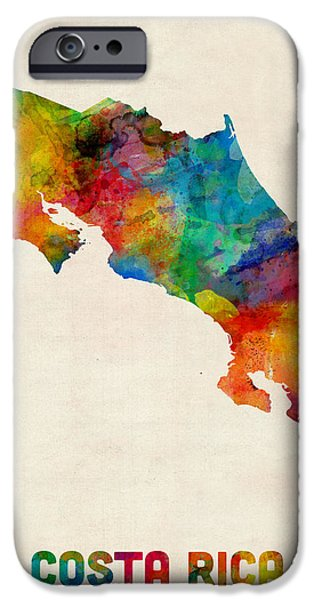 Map Of Germany iPhone Cases - Costa Rica Watercolor Map iPhone Case by Michael Tompsett