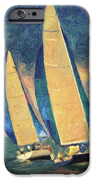 Beautiful Scenery Paintings iPhone Cases - Costa Smeralda iPhone Case by Taylan Soyturk