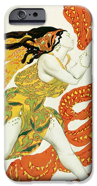Ballet Dancers Photographs iPhone Cases - Costume Design For A Bacchante In Narcisse By Tcherepnin, 1911 Pencil & Wc On Paper See Also 4728 iPhone Case by Leon Bakst
