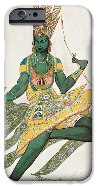 Ballet Dancers Photographs iPhone Cases - Costume Design For Nijinsky 1889-1950 For His Role As The Blue God, 1911 Wc On Paper iPhone Case by Leon Bakst