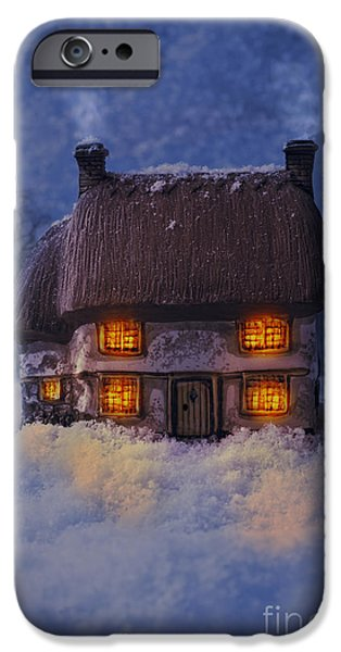 Snowy Evening iPhone Cases - Cosy Country Cottage iPhone Case by Amanda And Christopher Elwell