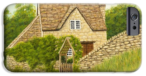 Village Pastels iPhone Cases - Cotswold cottage iPhone Case by Rebecca Prough