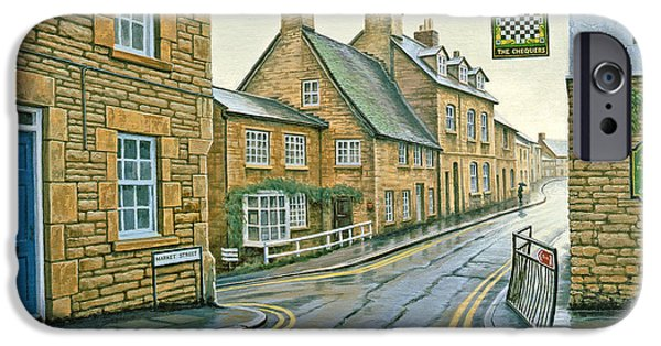 Rain iPhone Cases - Cotswold Village-Rainy Day iPhone Case by Paul Krapf