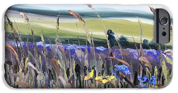 Garden Scene Paintings iPhone Cases - Cotswold Wildflowers iPhone Case by Donna Tuten