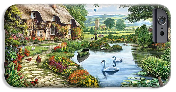 Rural iPhone Cases - Cottage by the Lake iPhone Case by Steve Crisp
