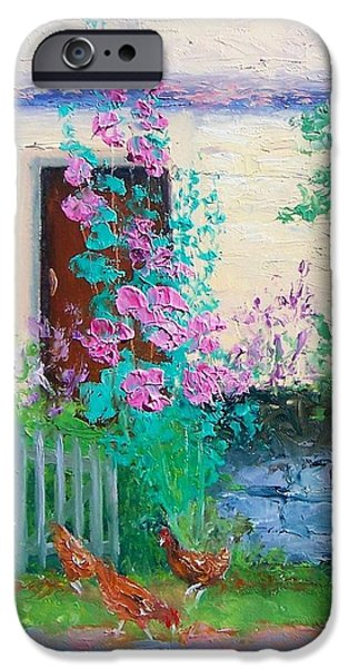 Garden Scene Paintings iPhone Cases - Cottage Garden by Jan Matson iPhone Case by Jan Matson