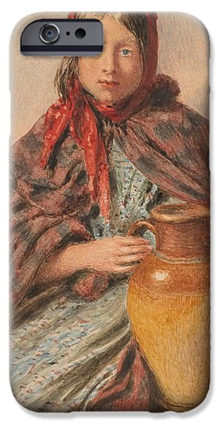 Province iPhone Cases - Cottage girl seated with a pitcher iPhone Case by William Henry Hunt