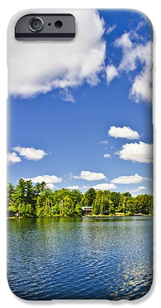 Cottage lake with diving platform and dock iPhone Case by Elena Elisseeva