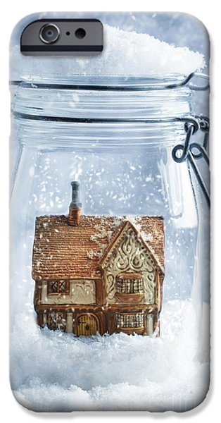 Snowball iPhone Cases - Cottage Snowglobe iPhone Case by Amanda And Christopher Elwell