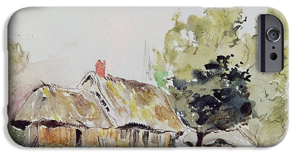 Delacroix iPhone Cases - Cottage under Large Trees in Summer iPhone Case by Ferdinand Victor Eugene Delacroix