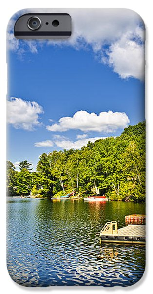 Cottages on lake with docks iPhone Case by Elena Elisseeva