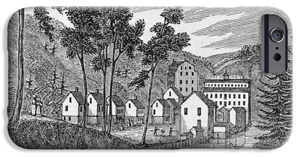 River iPhone Cases - Cotton Factory Village, Glastenbury, From Connecticut Historical Collections, By John Warner iPhone Case by American School