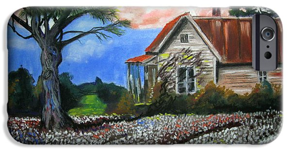 Farm Landscape Pastels iPhone Cases - Cotton Fields Back Home iPhone Case by Mike Benton