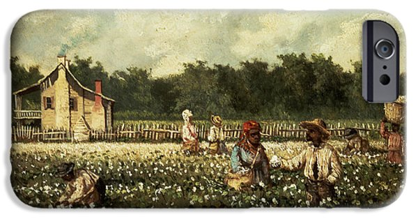 Slaves Photographs iPhone Cases - Cotton Field, Mississippi Oil On Panel iPhone Case by William Aiken Walker