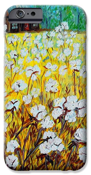 Crops iPhone Cases - Cotton Fields Back Home iPhone Case by Eloise Schneider
