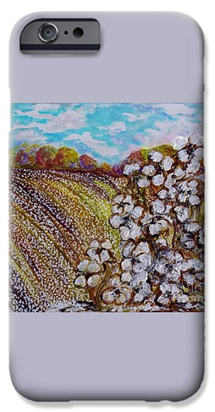 Cotton Fields in Autumn iPhone Case by Eloise Schneider