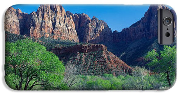 Physical iPhone Cases - Cottonwood Trees And The Watchman, Zion iPhone Case by Panoramic Images