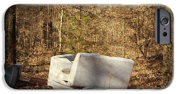 Strange iPhone Cases - Couch and TV in the forest iPhone Case by Matthias Hauser