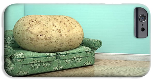 Aged Wood Digital iPhone Cases - Couch Potato On Old Sofa iPhone Case by Allan Swart
