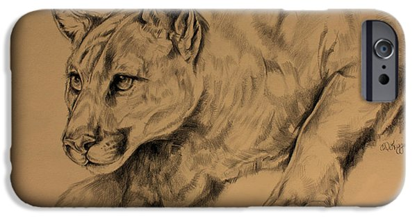 Painter Drawings iPhone Cases - Cougar iPhone Case by Derrick Higgins