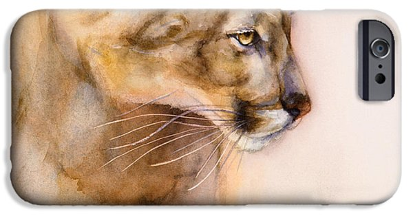 Large Cats iPhone Cases - Cougar on the Prowl iPhone Case by Bonnie Rinier