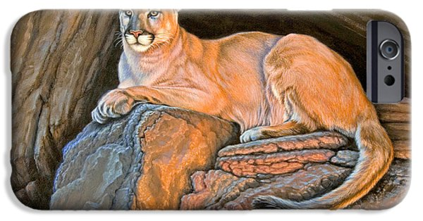 Canyons Paintings iPhone Cases - Cougar iPhone Case by Paul Krapf