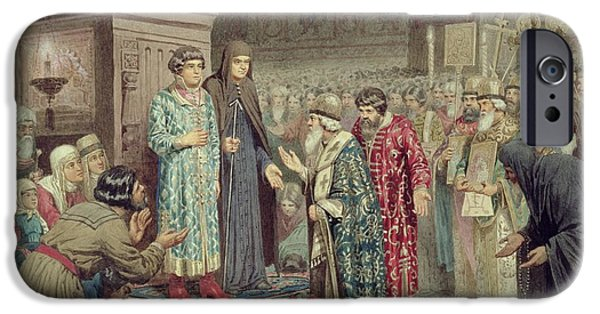 Elected iPhone Cases - Council Calling Michael F. Romanov 1596-1645 To The Reign, 1880 Wc On Paper iPhone Case by Aleksei Danilovich Kivshenko