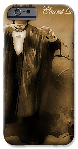 Halifax Art Work iPhone Cases - Count Dracula in Sepia iPhone Case by John Malone