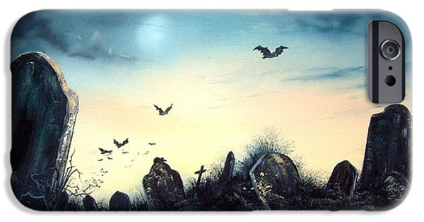 Headstones Paintings iPhone Cases - Count the Eyes iPhone Case by Jean Walker