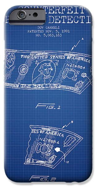 Currency iPhone Cases - Counterfeit Currency Detection Patent from 1991 - Blueprint iPhone Case by Aged Pixel