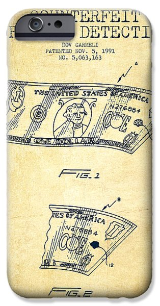 Currency iPhone Cases - Counterfeit Currency Detection Patent from 1991 - Vintage iPhone Case by Aged Pixel