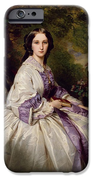 Countess iPhone Cases - Countess Alexander Nikolaevitch Lamsdorff. Maria Ivanovna Beck iPhone Case by Franz Xaver Winterhalter