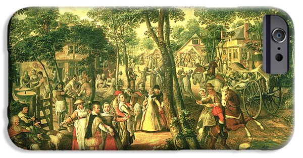 Celebrated iPhone Cases - Country Celebration, 1563 Oil On Canvas iPhone Case by Joachim Beuckelaer or Bueckelaer