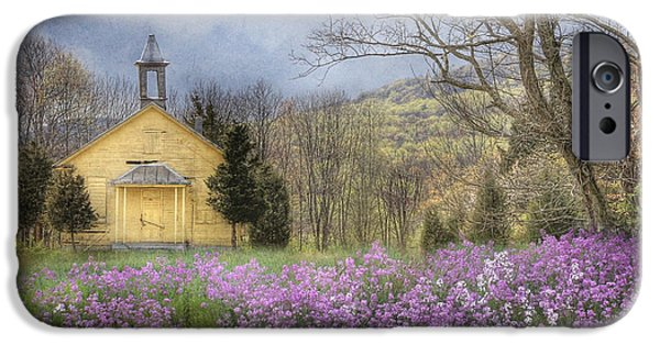 Old Digital Art iPhone Cases - Country Charm School iPhone Case by Lori Deiter