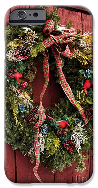 East Village iPhone Cases - Country Christmas Wreath iPhone Case by John Rizzuto