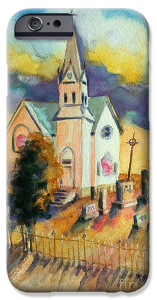 Cemetary iPhone Cases - Country Church at Sunset iPhone Case by Kathy Braud
