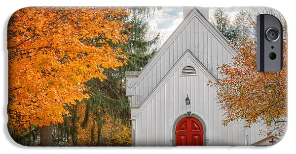 Autumn In The Country iPhone Cases - Country Church iPhone Case by Bill  Wakeley