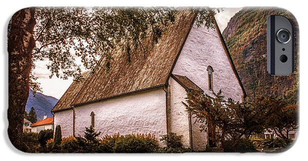 Norway iPhone Cases - Country church Norway iPhone Case by Catherine Arnas