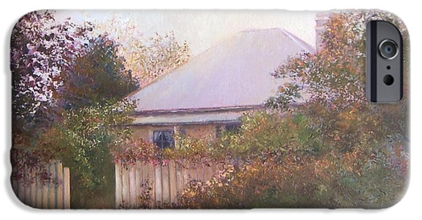 Garden Scene Paintings iPhone Cases - Country Cottage Autumn iPhone Case by Jan Matson
