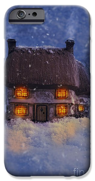 Snowy Evening iPhone Cases - Country Cottage iPhone Case by Amanda And Christopher Elwell