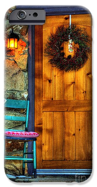 Prescott iPhone Cases - Country Cottage Door At Christmas iPhone Case by K D Graves